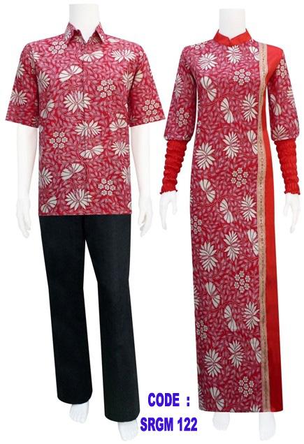 Sarimbit gamis batik garis samping srgm 12 koleksi Gambar baju gamis batik wanita