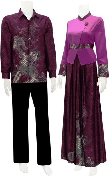 Model Baju Batik Modern Ungu