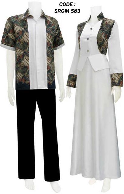 Gamis gaun kombinasi batik code srgm 58 koleksi baju Model baju gamis batik variasi